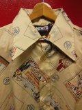 70S ビンテージ US古着 LEVI'S リーバイス ポリシャツ 20世紀初頭万博等のポストカード総柄プリント/Sサイズ