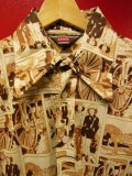 70S ビンテージ US古着 LEVI'S リーバイス ポリシャツ 18世紀開拓時代総柄プリント/Mサイズ