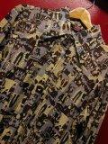 70S ビンテージ US古着 LEVI'S リーバイス ポリシャツ開拓時代のサルーン酒場プリント/Lサイズ