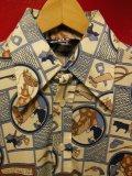 70S ビンテージ US古着 LEVI'S リーバイス ポリシャツ カウボーイ馬具総柄プリント/Lサイズ