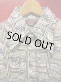 70S ビンテージ US古着 LEVI'S リーバイス ポリシャツ 開拓時代のカウボーイ/農夫総柄プリント/Mサイズ