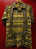 1950'S JANTZEN ABSTRUCT PRINTED BLACK COTTON HAWAIIAN SHIRT SZ/M