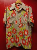 〜1950'S ART VOGUE HIBUSCUS PRINTED RIGHT GRAY RAYON HAWAIIAN SHIRT SZ/M