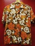 50S60S 米国ハワイ製 ビンテージ ROYAL HAWAIIAN バーククロス コットン ハワイアン アロハシャツ/Mサイズ US古着