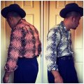 The GROOVIN HIGH Vintage Style Box Shirt Long Sleeves A174 Pink X Black/White X Navy