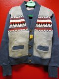 1950'S DEADSTOCK CAMPUS COTTON KNIT CARDIGAN/SIZE30/S,BLUE