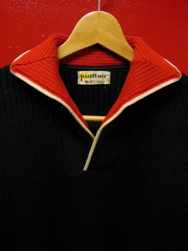画像2: 1950'S PURITAN BLACK X RED COLLAR ELVIS PRESLEY STYLE KNIT PULLOVER
