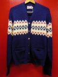 画像1: 1950'S ALPS NATIVE BORDER JACQUARD KNIT CARDIGAN/42  (1)