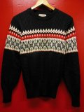 1950'S ROBIN HOOD SNOWFLAKE BORDER BLACK JAQUARD KNIT SWEATER