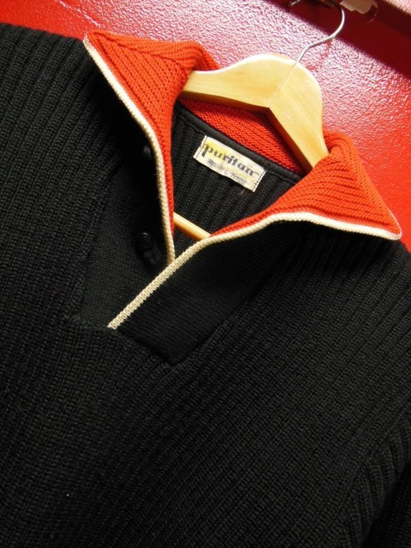 画像1: 1950'S PURITAN BLACK X RED COLLAR ELVIS PRESLEY STYLE KNIT PULLOVER