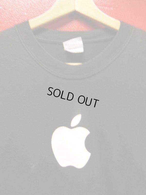 画像1: (3)90S00S US古着 ビンテージ apple アップルコンピューター 販売店イベントスタッフTシャツ/黒/Lサイズ