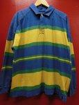 画像1: 90S00S US古着オールド ビンテージ 旧タグ GAPボーダーラグビーシャツラガーシャツ/L (1)