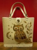 1960'S ENID COLLINS STYLE OWL JEWELED BAG/BEIGE