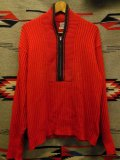 1950'S〜 WESTWOOD RED X BLACK SHAWL COLLAR HALF ZIP WOOL SWEATER SIZE/L