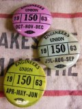 (7)1963年 ビンテージ 3個セット ENGINEERS UNION PIN BACK 缶バッジ