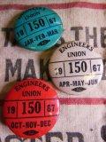 (10)1967年 ビンテージ 3個セット ENGINEERS UNION PIN BACK 缶バッジ