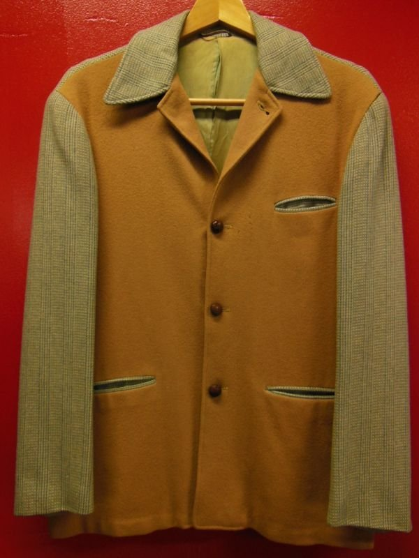 画像1: 1940'S UNKNOWN TWO TONE PANEL HOLLYWOOD STYLE LEISURE JACKET/36