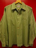 1950'S ENSENADA GREEN X WHITE PLAID COTTON SHIRT SZ/LARGE