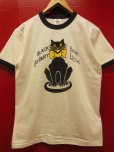 "画像1: RAWHIDE ""BLACK CAT"" TEE SHIRT/6.2oz BODY/WHITE/BLACK (1)"