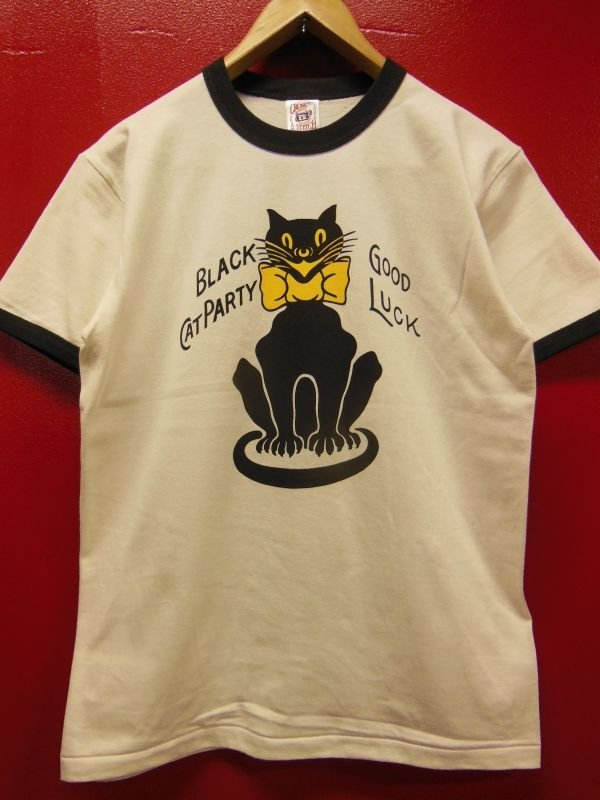 "画像1: RAWHIDE ""BLACK CAT"" TEE SHIRT/6.2oz BODY/WHITE/BLACK"