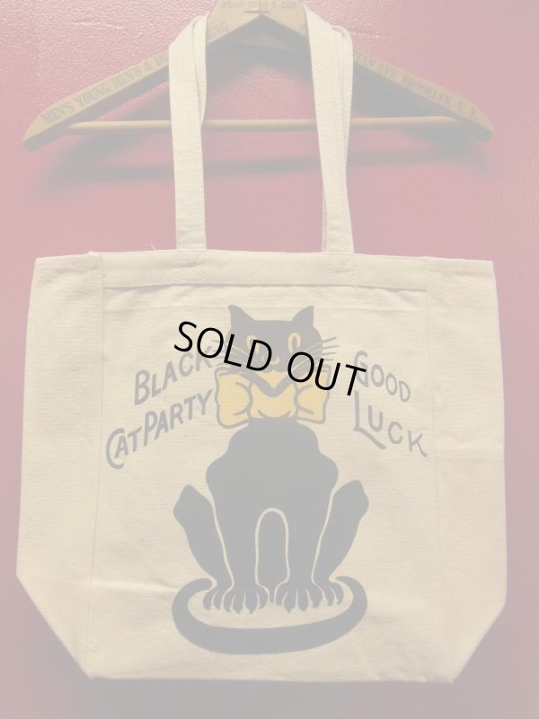 画像1: RAWHIDE TOTE BAG W/INSIDE POCKET/BLACK CAT/NATURAL CANVAS