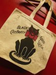 画像2: RAWHIDE TOTE BAG W/INSIDE POCKET/BLACK CAT/NATURAL CANVAS (2)