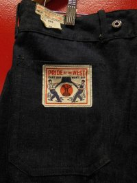 1930'S NOS PRIDE OF THE WEST DENIM WORK TROUSERS 38X32(実寸36X28)