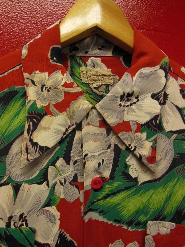 画像2: 1950'S CACMPBELL'S FLOWER PRINTED RAYON HAWAIIAN SHIRT SZ/M