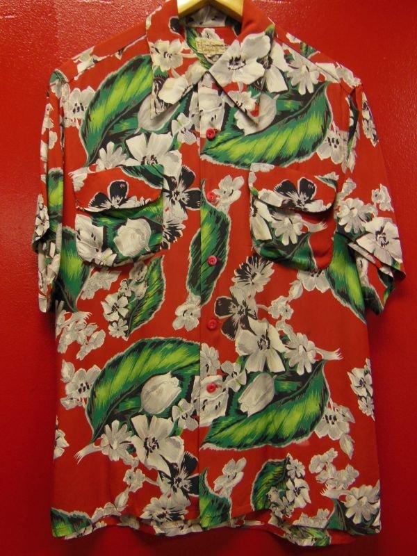 画像1: 1950'S CACMPBELL'S FLOWER PRINTED RAYON HAWAIIAN SHIRT SZ/M