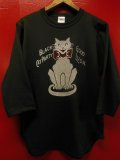 "RAWHIDE ""BLACK CAT"" BASEBALL TEE SHIRT/BLACK/6.2oz BODY"