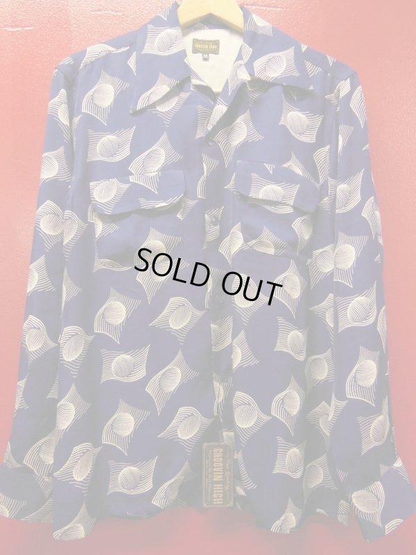画像1: The GROOVIN HIGH 1950'S Vintage Style Box Shirt Long Sleeves A241 /NAVY/MEDIUM