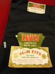 "画像1: 1960'S DEADSTOCK LEVI'S 800  BIG""E"" BLACK SLIM FIT PANTS/27X27 (1)"