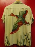 1940'S CATALINA FLYING DUCK BACK PANEL PRINTED RAYON HAWAIIAN SHIRT SZ/S