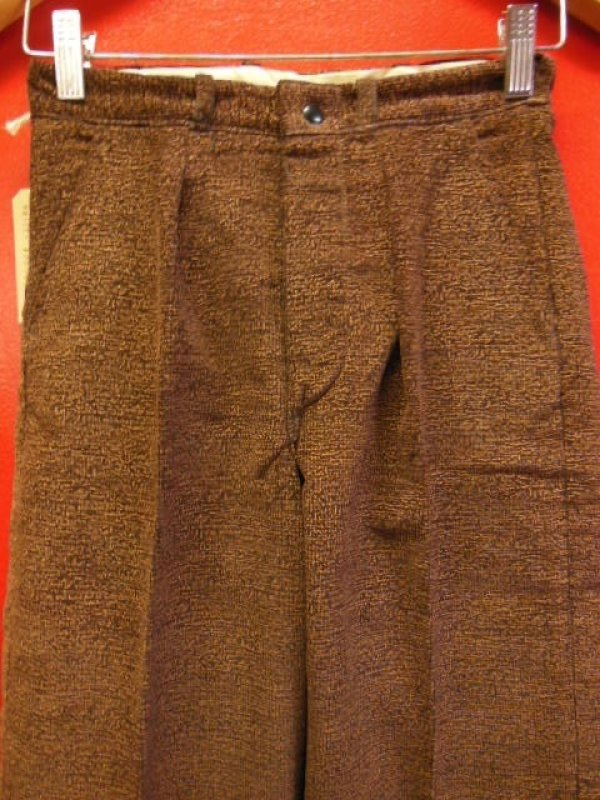 画像2: 1930'S DEADSTOCK UNKNOWN PRINTED CORDS TROUSERS YOUTH12 25.5X26