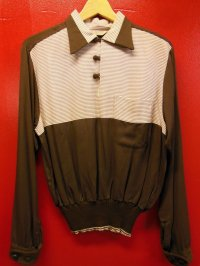 1950'S LORD CARLTON TWO TONE RAYON PULLOVER SHIRT SIZE/M