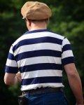 The GROOVIN HIGH Vintage Style Ringer Cotton Stripe T-Shirt Navy/White