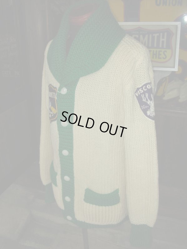 画像2: 1950'S 2TONE SHAWL COLLAR KNIT CARDIGAN