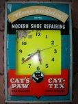 画像1: 1950'S CAT'S PAW ADVERTISING LIGHTED SIGN CLOCK (1)