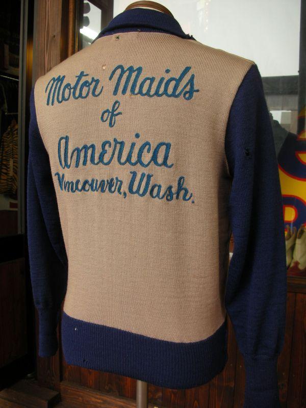1940 S〜 Motor Maids Mc Club Harf Zip Two Tone Wool Jersey