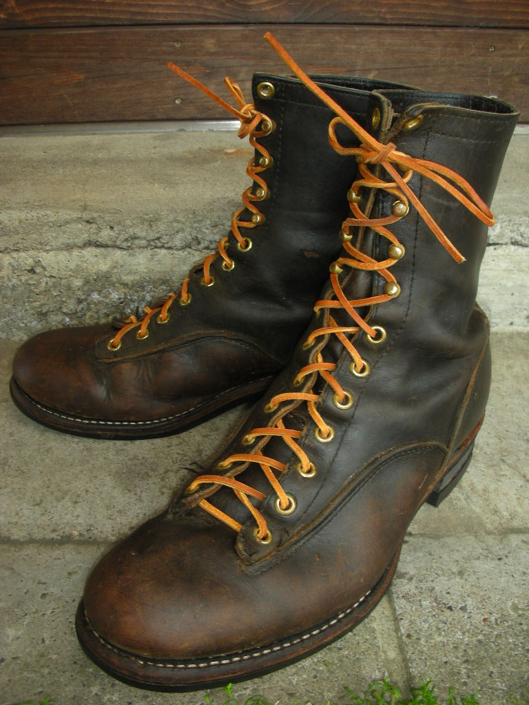 1960 S Chippewa Lace To Toe Logger Boots Sz 9d Rock A