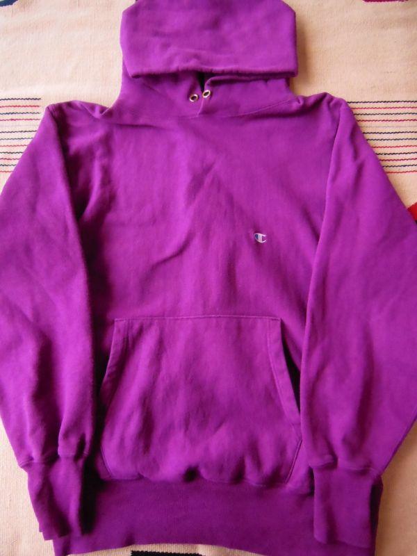 90s Championリバースウィーブスウェットパーカー 紫 無地 L Rock A Hula Vintage